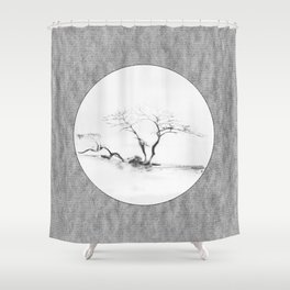 Scots Pine Paper Bag Grey Shower Curtain
