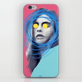 Brow Cara, POP art style, digitally painted iPhone Skin