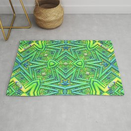 Pointy pattern in green, yellow, and blue Rug