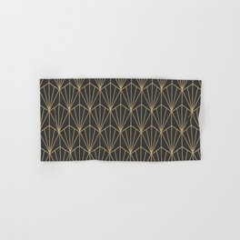 Art Deco Vector in Charcoal and Gold Hand & Bath Towel