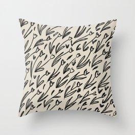 Hand Drawn Tulips Throw Pillow