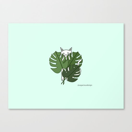 Cat hidden in the palm leaves Canvas Print