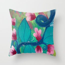 Pretty Flowers on a Fat Vine Throw Pillow