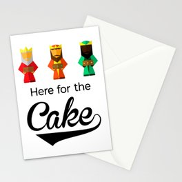 Here For The Cake Funny Pun Epiphany Three Kings Day design Stationery Cards