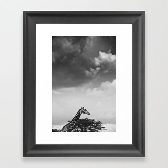 Giraffe under overcast Framed Art Print