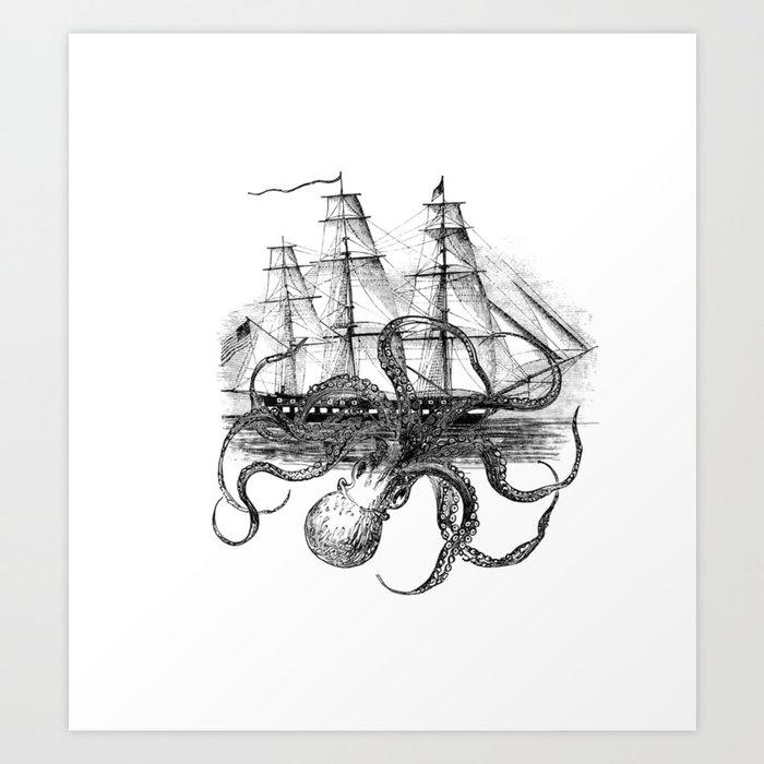 Octopus Attacks Ship on White Background Kunstdrucke