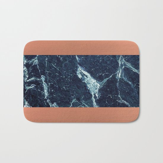 Blue Marble & Copper Bath Mat