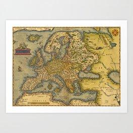 Vintage map of Europe Art Print