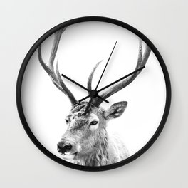 Deer Print, Black and white photo print Wall Clock