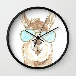 Aviator Llama Watercolor Wall Clock