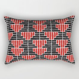 Red and Black Block Rectangular Pillow