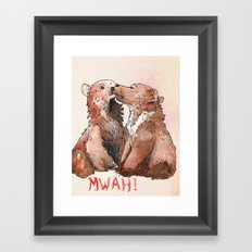 Bear cub kiss Framed Art Print