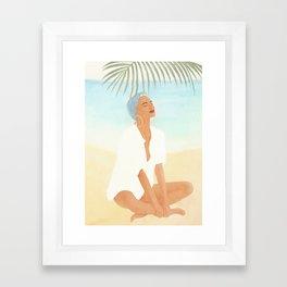Under a Beach Palm Framed Art Print