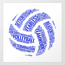 Blue Volleyball Wordcloud - Gift Art Print