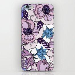 Cute beautiful floral seamless pattern. Ultraviolet roses, violas and meadow flowers. iPhone Skin