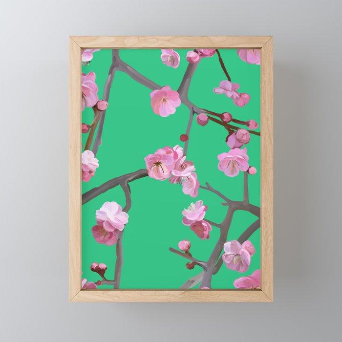 Plum blossom pattern peppermint green Framed Mini Art Print