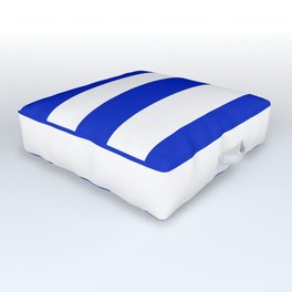 Cobalt Blue and White Wide Cabana Tent Stripe Outdoor Floor Cushion