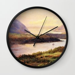 Highlands on the Hudson Landscape by Frederic Irwin Church Wall Clock
