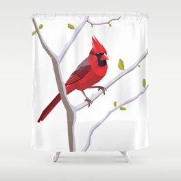 Geometric Cardinal Shower Curtain