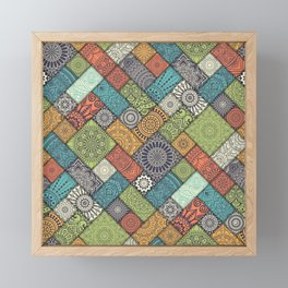 Moroccan Fabric Pattern Collage Framed Mini Art Print