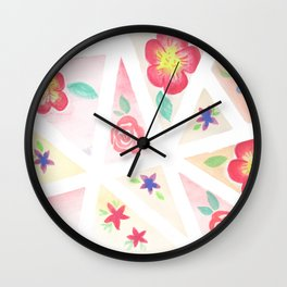 flowers and triangles Wall Clock