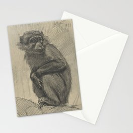 Vintage Monkey Drawing - Jungle Decor Stationery Cards