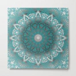 Turquoise Flower Mandala Metal Print