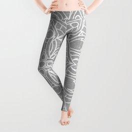 White Mandala on Grey Linen Leggings