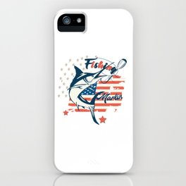 Design with marlin fish on USA flag background iPhone Case