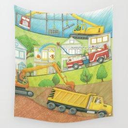 Trucks at Work Wall Tapestry