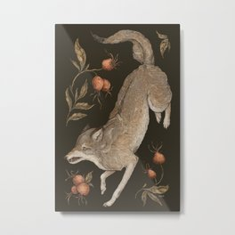 The Wolf and Rose Hips Metal Print