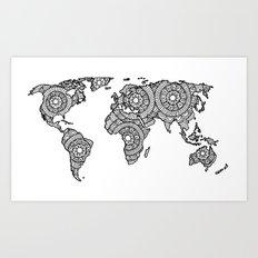 Mandala World Map Art Print
