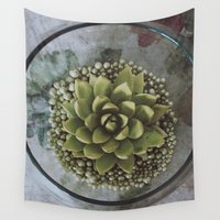 succulent Wall Tapestries featuring Succulent by Michelle Wenz