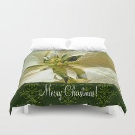 Pale Yellow Poinsettia 1 Merry Christmas S6F1 Duvet Cover
