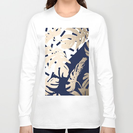 Simply Tropical Nautical Navy Memphis Palm Leaves Long Sleeve T-shirt