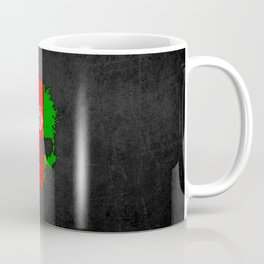 Flag of Afghanistan on a Chaotic Splatter Skull Coffee Mug