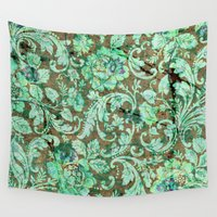 flower pattern Wall Tapestries featuring Flower pattern by nicky2342