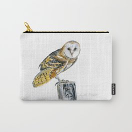 Strike a Pose - painting of a young Barn Owl by Teresa Thompson Carry-All Pouch