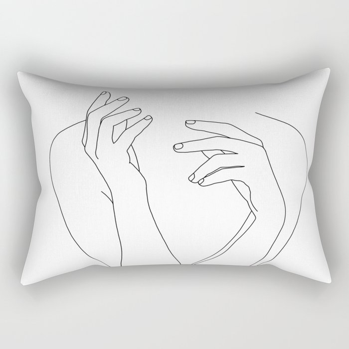 Woman's body line drawing illustration - Dee Rectangular Pillow