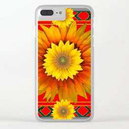 RED-GREY DECO YELLOW SUNFLOWERS MODERN ART Clear iPhone Case