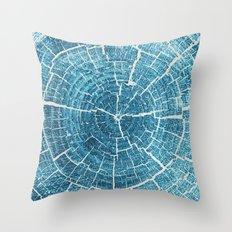 WOOD CUT / indigo Throw Pillow