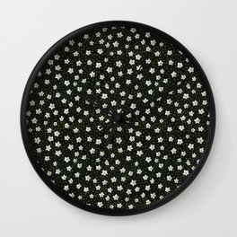 White Spring Flowers Wall Clock