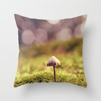 mushroom Throw Pillows featuring mushroom by anitaa