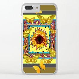 WESTERN STYLE BUTTERFLIES-SUNFLOWERS ART Clear iPhone Case