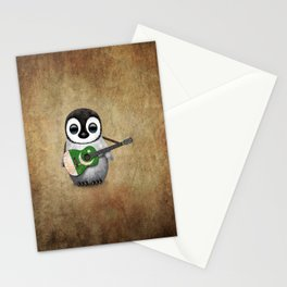 Baby Penguin Playing Pakistani Flag Acoustic Guitar Stationery Cards