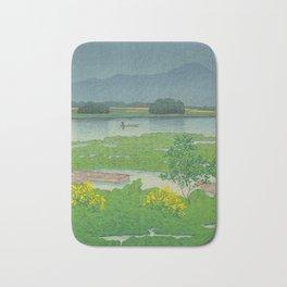 Kawase Hasui Vintage Japanese Woodblock Print Flooded Asian Rice Field Mountain Parallax Landscape Bath Mat