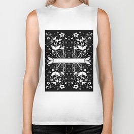 Abstract floral background with banner Biker Tank