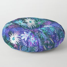Eden Floral Blue Floor Pillow