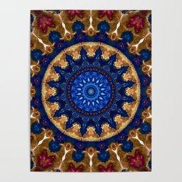 Royal Blue Gold Mandala Design Poster