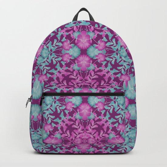 Blue pink floral pattern Backpack